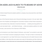 Elsen adds Jack Klinck to its Board of Advisors