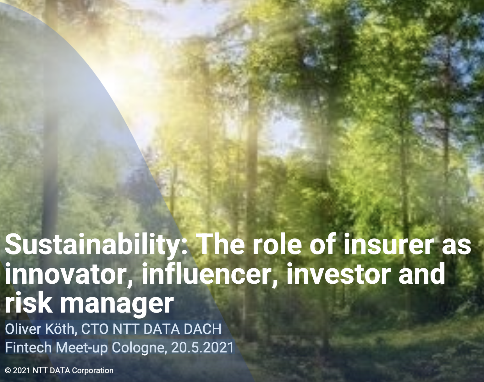 Sustainability: The role of insurer as innovator, influencer, investor and risk manager